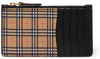 Burberry Checked Canvas And Leather Cardholder - Beige