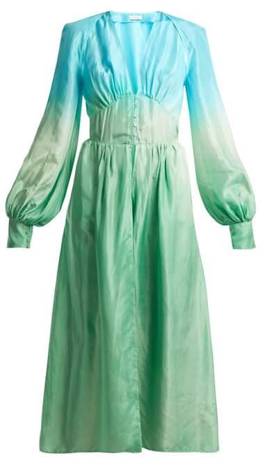 Silk-habotai balloon-sleeved shirtdress