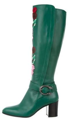 Gucci Leather Floral Embroidered Boots Green Leather Floral Embroidered Boots