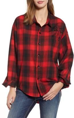 Pam & Gela Plaid Embellished Oversize Shirt