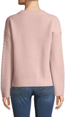 Neiman Marcus Cashmere Braided-Sleeve Ribbed Pullover