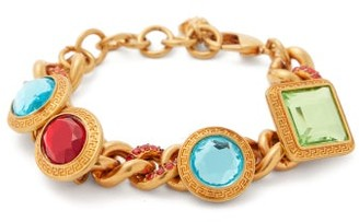 Versace Crystal Embellished Curb Chain Bracelet - Womens - Multi