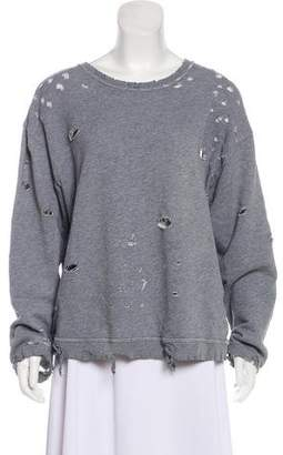 RtA Denim Distressed Knit Top