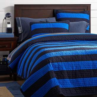 Pottery Barn Teen Rugby Stripe Reversible Quilt, Navy/Bright Blue, Twin/Twin XL