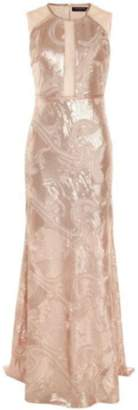 Dex Sheer Champagne Sequin Gown