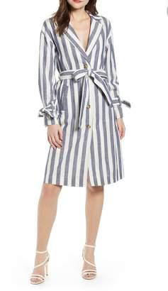 J.o.a. Stripe Cotton & Linen Shirtdress
