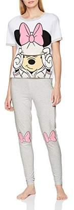 Disney Minnie Mouse Women's Pyjama Sets, (Grey Marl), (Size: 6-8)