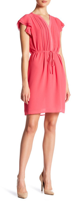 Anne Klein Anne Klein Pleated Flutter Sleeve Dress