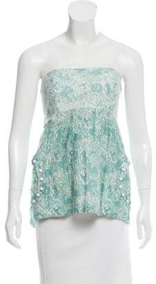 Lela Rose Strapless Printed Top