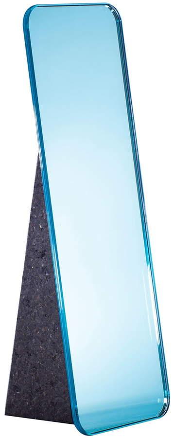 Pulpo - Olivia Tischspiegel H 38 cm, Hellblau / Standfuß schwarz