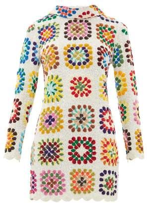 Ashish High Neck Sequinned Mini Dress - Womens - White Multi