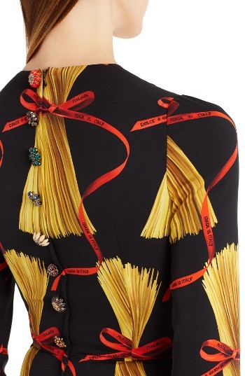 Women's Dolce&gabbana Pasta Print Stretch Silk Dress 2