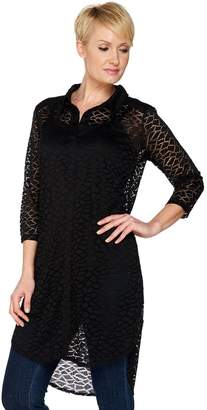 Women With Control Attitudes by Renee 3/4 Sleeve Lace Duster with Camisole