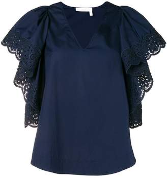 See by Chloe broderie anglaise ruffled sleeve top