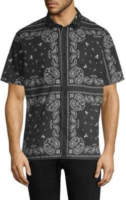The Kooples Printed Short-Sleeve Button-Front Shirt