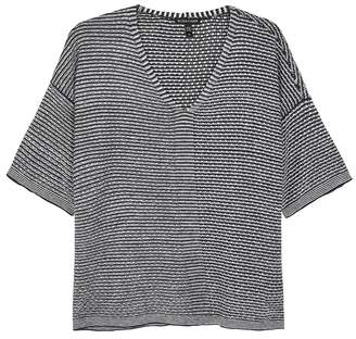 Eileen Fisher Charcoal Striped Linen Top