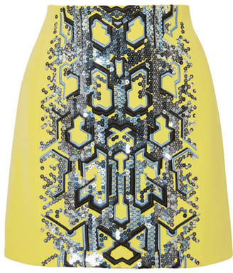 Thierry Mugler Embellished Embroidered Crepe Mini Skirt - Yellow