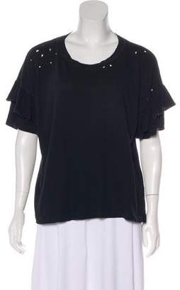 Current/Elliott Distressed Ruffle-Accented T-Shirt