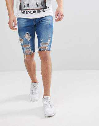 Religion Slim Fit Denim Shorts In Blue With Rips