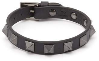 Valentino Rockstud Embellished Leather Bracelet - Mens - Black