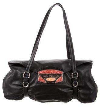 pradaPrada Crocodile-Trimmed Nappa Easy Bag