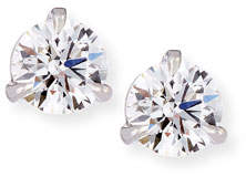 Memoire 18k White Gold Martini Diamond Stud Earrings, 0.51 tcw