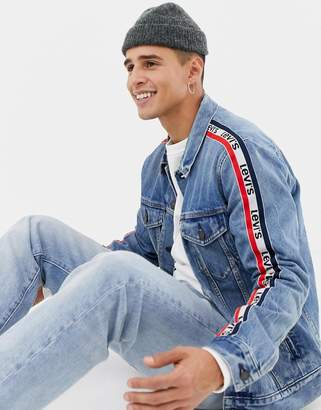 sportswear side stripe trucker jacket