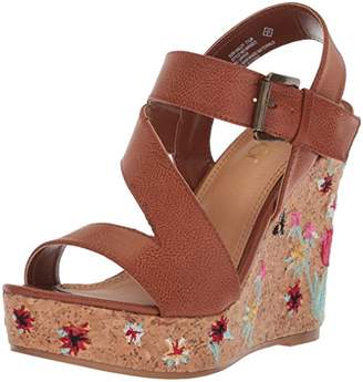 Sugar Women's Haley Platform Strappy Buckled Cork Wedge Sandal