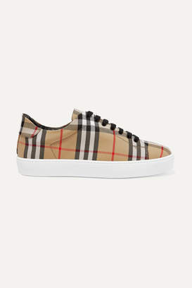 Burberry Checked Canvas Sneakers - Beige