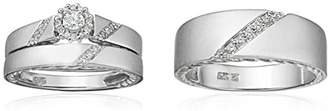 Triton 10k Diamond Trio Wedding Ring Set (1/3cttw