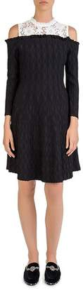 The Kooples Cold-Shoulder Knit-and-Lace Dress