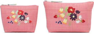 Rice ラフィア メイクアップパース S & L 2個セット ピンク