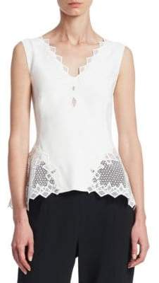 Jonathan Simkhai Diamond Lace Applique Peplum Top