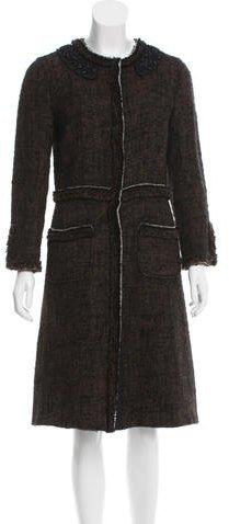 pradaPrada Embellished Wool-Blend Coat