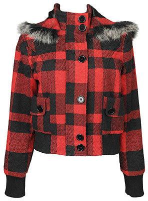 Plaid Tweed Hooded Jacket