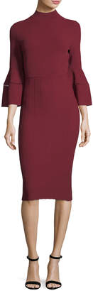 Lela Rose Mock-Neck Flounce-Sleeve Dress