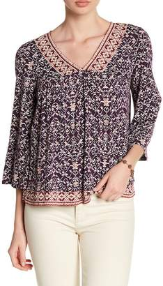 Lucky Brand Printed Bell Sleeve Blouse