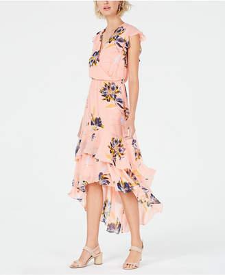 Bar III Floral-Print Tiered-Skirt Dress