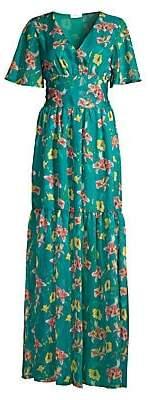 Eywasouls Malibu Women's Maria Floral Sheer-Hem Maxi Dress