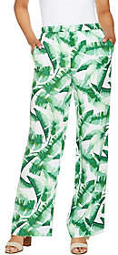 C. Wonder Petite Tropical Palm Print Pull-OnFull Leg Pants