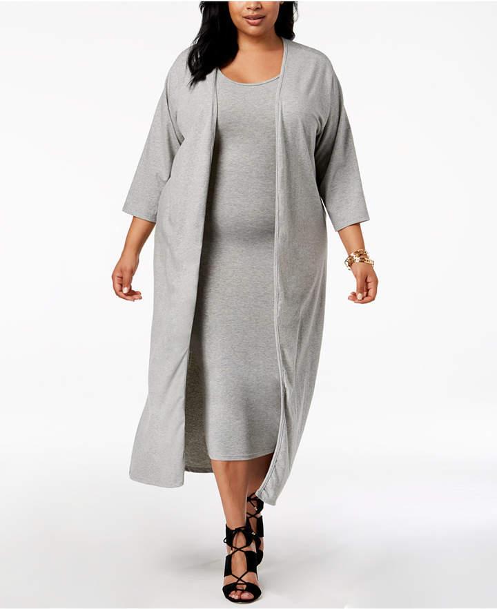 Rebdolls Plus Size Cardigan Tank Dress Set