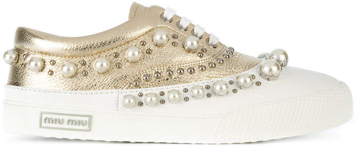 Miu Miu pearl studded lace-up sneakers