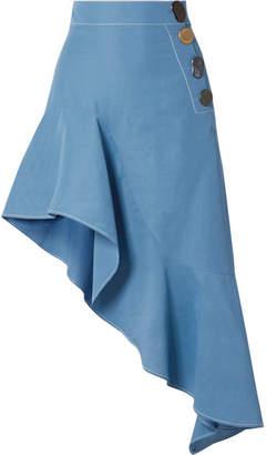 REJINA PYO - Ella Asymmetric Woven Midi Skirt - Azure
