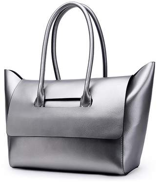 Mn&Sue Urban Style Solid Color Pearl Genuine Leather Tote Shoulder Handbag for Women Lady Purse