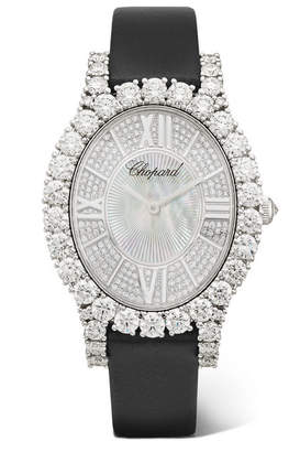 Chopard L'heure Du Diamant 34.10mm 18-karat White Gold, Satin, Diamond And Mother-of-pearl Watch