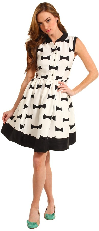 Kate Spade Monroe Dress (Clotted Cream/Black Bow Tie Large) - Apparel