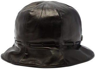 Gucci Leather Bucket Hat - Mens - Black