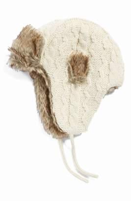 Nirvanna Designs Cable Knit Ear Flap Hat with Faux Fur Trim