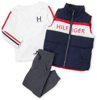 Tommy Hilfiger Toddler Boys) 3-Piece Logo Print Fleece Vest and Pants