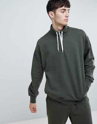 BOSS Ztalone 1/4 Zip Sweat in Khaki